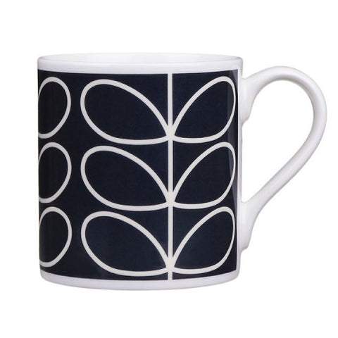 Orla Kiely Linear Stem Navy Quite Big China Mug