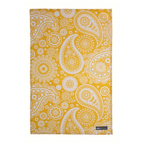 UW Paisley Crescent Mustard Cotton Tea Towel