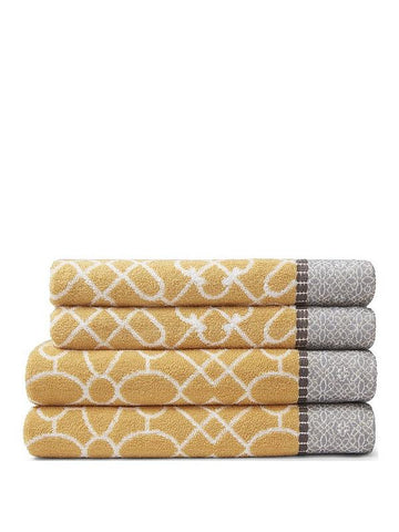Bianca Cassia Border Bath Towel Ochre