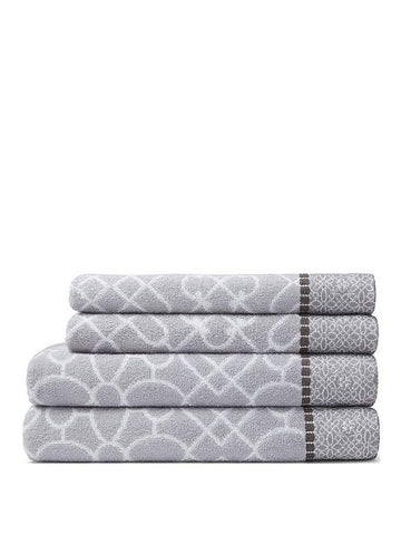 Bianca Cassia Border Bath Towel Grey