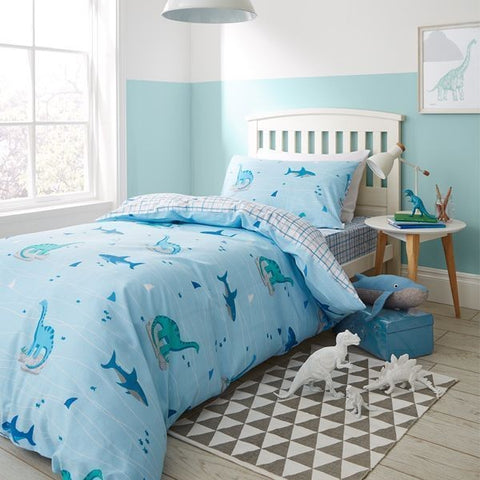 Bianca Dinoshark And Check Blue Single Fitted Sheet