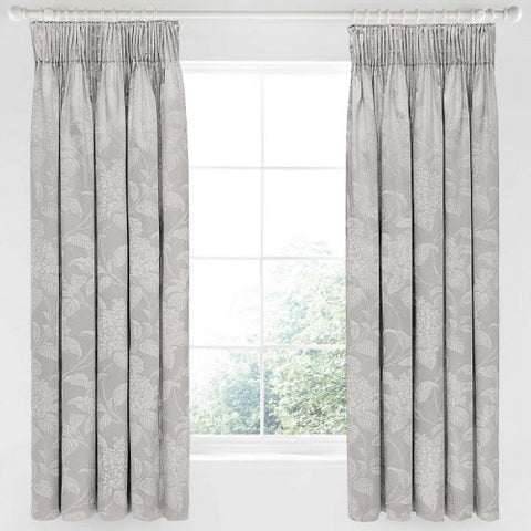 Sanderson Hortensia Blossom Silver Lined Tape Top Curtains, 66x72