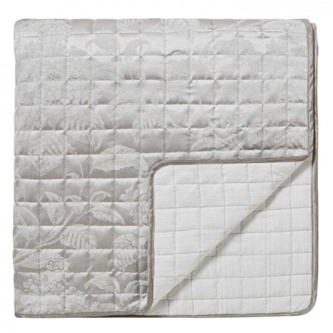 Sanderson Hortensia Blossom Silver Quilted Throw