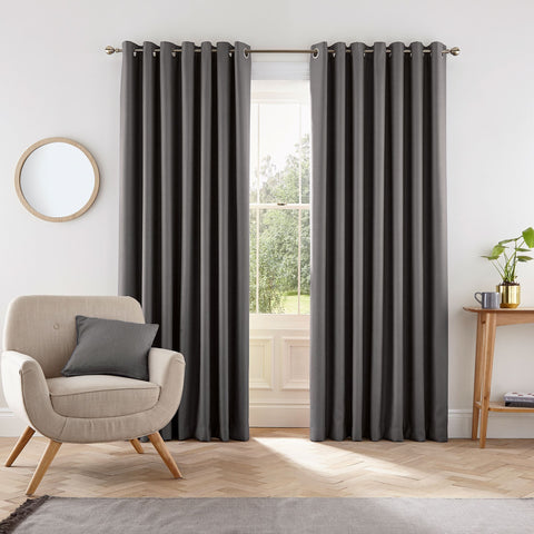 HS Eden Charcoal Eyelet Lined Curtains 90x72