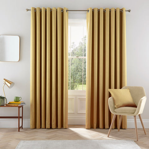 HS Eden Chartreuse Eyelet Lined Curtains 90x90