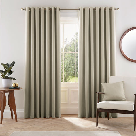 HS Eden Linen Eyelet Lined Curtains 90x72