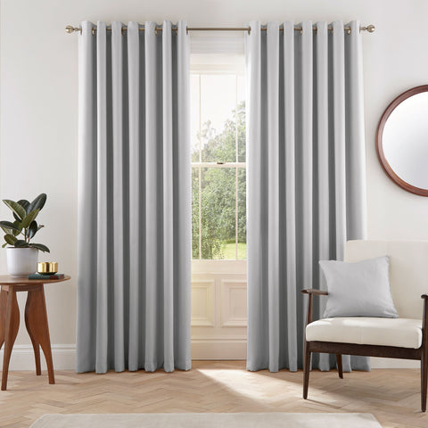 HS Eden Silver Eyelet Lined Curtains 90x72