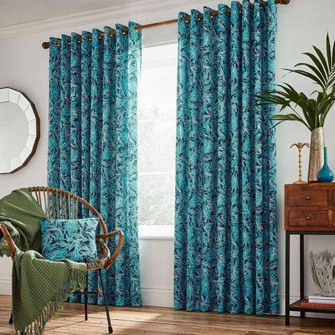 HS Oasis Oceanic Lined Curtains 66x90""