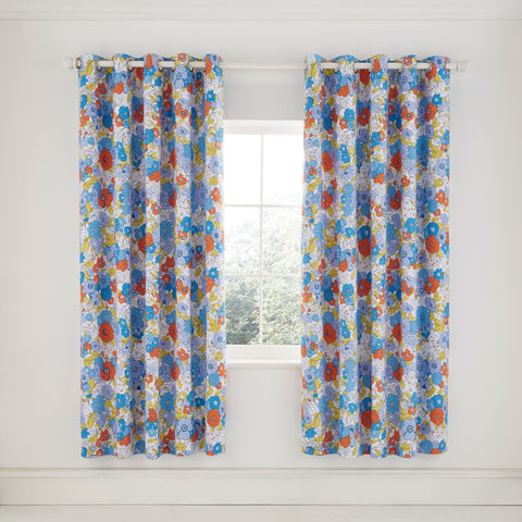 HS Patsy Blue Lined Curtains, 66x90