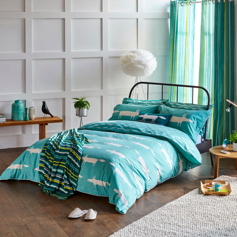 Scion Mr Fox Teal Kingsize Duvet Cover