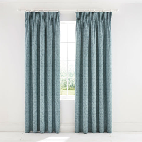 Morris & Co. Little Chintz Lined Curtains 66X90 (168X229Cm) Teal