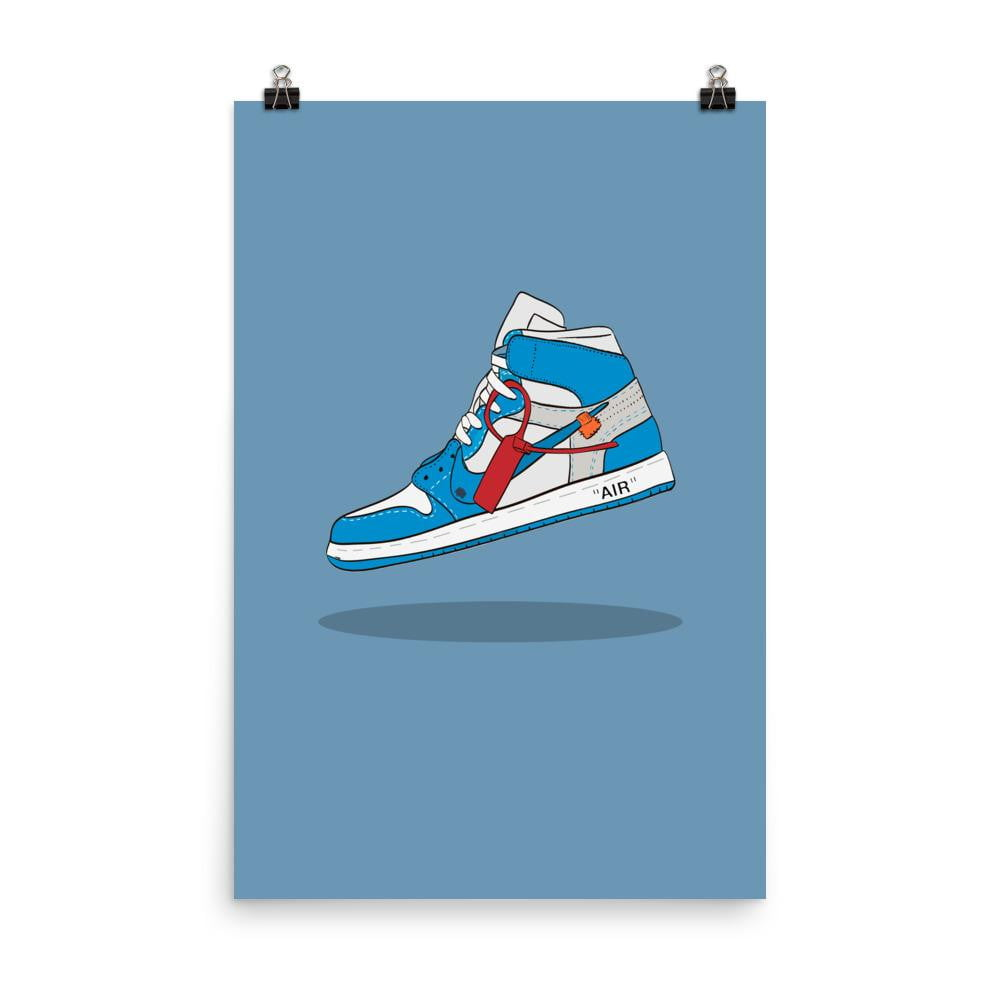 Poster Jordan 1 Retro High Off-White University BlueSneakers Wall Star- accessoires sneakers addict