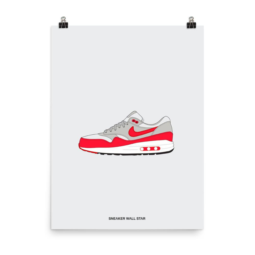VINTAGE NIKE AIR Max 1 OG Red Ad 11x17 Poster Print Home Decor Sneaker Wall Art