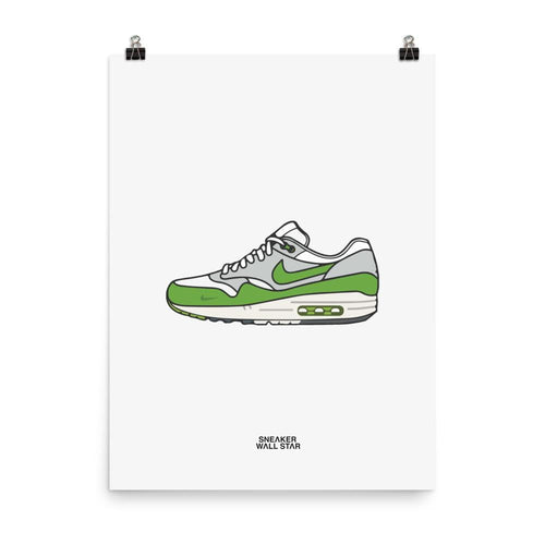 Poster Patta x Nike Air Max 1 'Chlorophyll'Sneakers Wall Star- accessoires sneakers addict