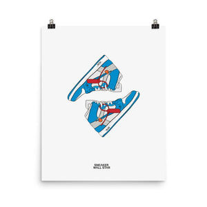 Poster Air Jordan x Off White Nike AJ I 1 Powder Blue UNC (2018)Sneakers Wall Star- accessoires sneakers addict