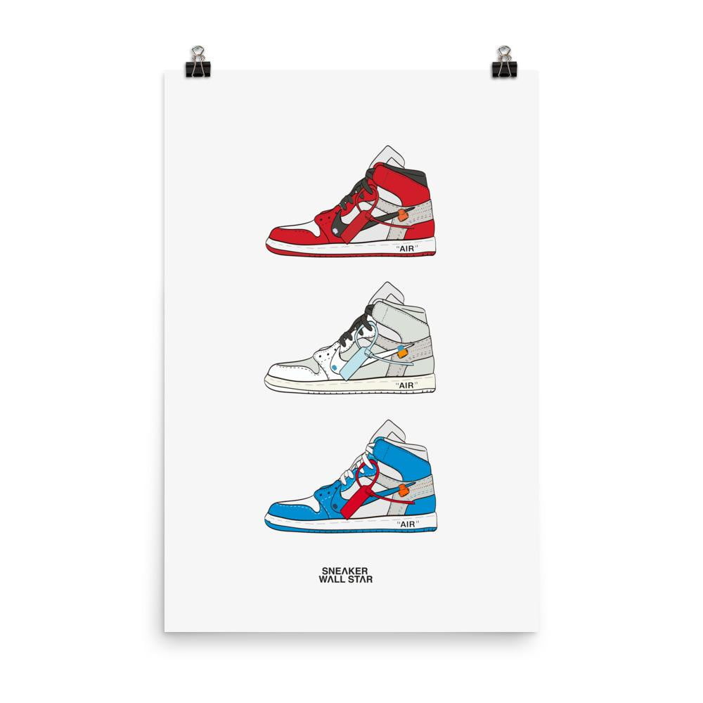Poster Air Jordan 1 x Off White rotationSneakers Wall Star- accessoires sneakers addict