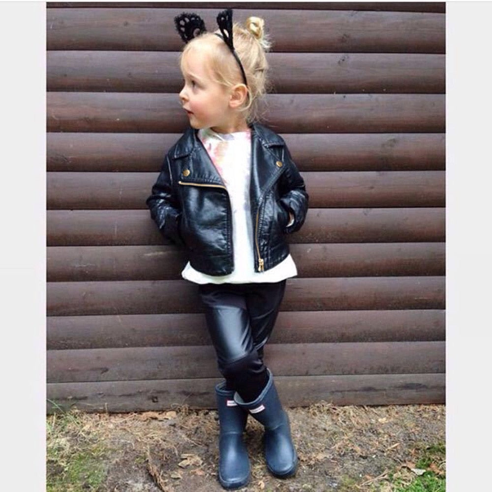 0c3d8ffc8476 Wind PU Leather Leather Coat Baby Boys and Girls Short Children ...
