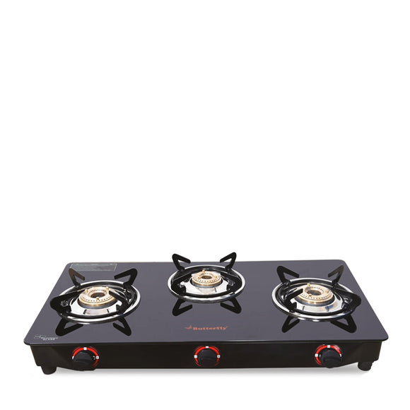 Butterfly Trio Glass Top Gas Stove, 3 Burner