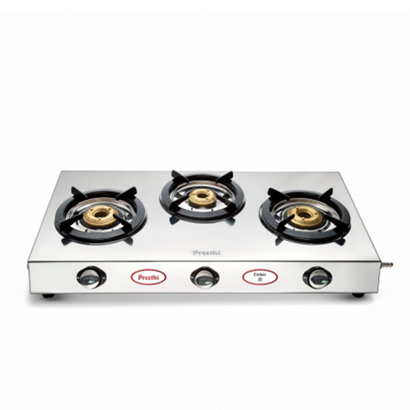 Preethi Ember Stainless Steel Gas Stove, 3 Burner