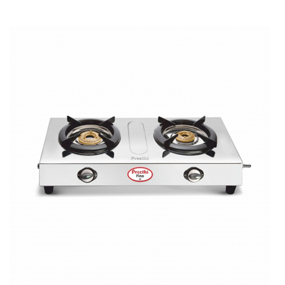 Preethi Fino Stainless Steel Gas Stove, 2 Burner