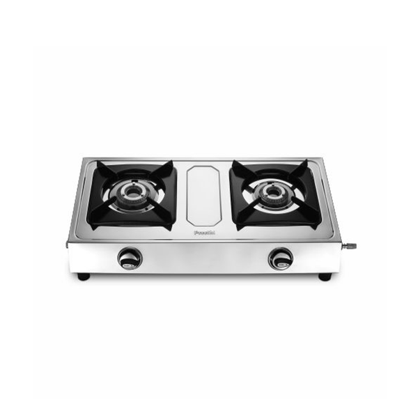 Preethi Glare Stainless Steel Gas Stove, 2 Burner