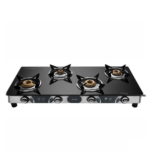 Preethi Jumbo Max Glass Top Gas Stove, 4 Burner