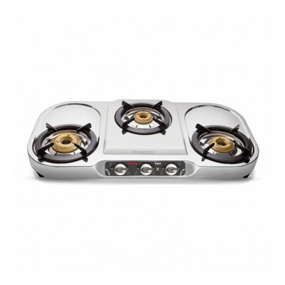 Preethi Topaz Stainless Steel Gas Stove, 3 Burner