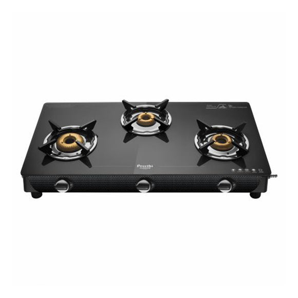 Preethi Valentino Carbon Glass Top Gas Stove, 3 Burner