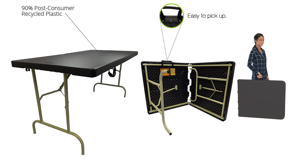 "Iceberg ECO Bi-Fold Folding Table, 30"" x 60"", Black - 90% post-consumer material and easy to pick up"
