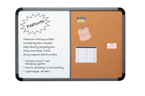 Ingenuity™ White and Cork Board,  Charcoal, 3 sizes