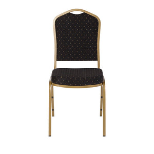 Banquet Chair, 4-Pack, Crown, Black Pattern/Gold Vein Frame