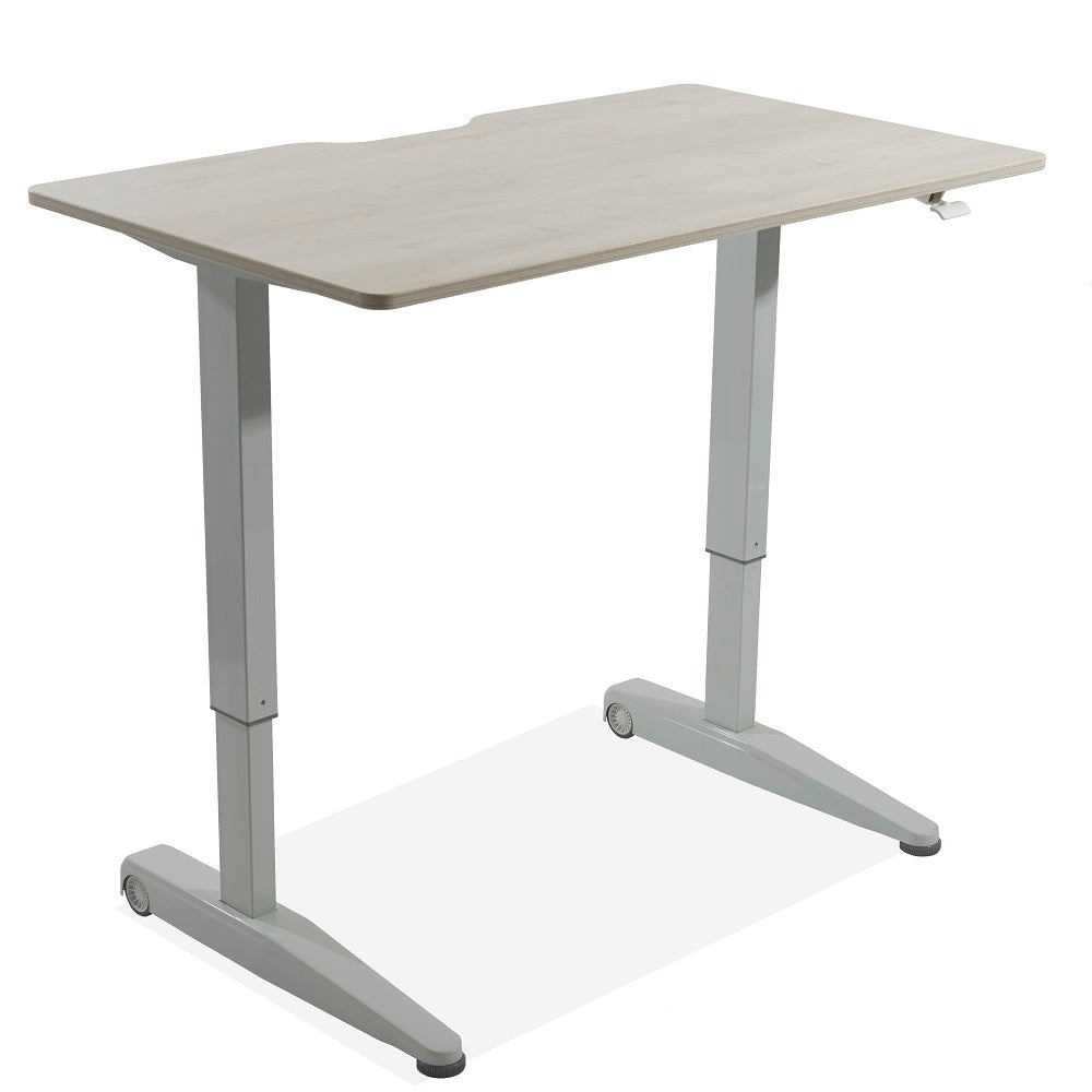Air-powered Lift Adjustable Height 4 foot Desk, White Ash Finish