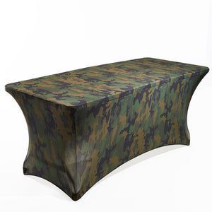 Stretch Fabric Table Cover, 6ft. Table, Army Camouflage Pattern