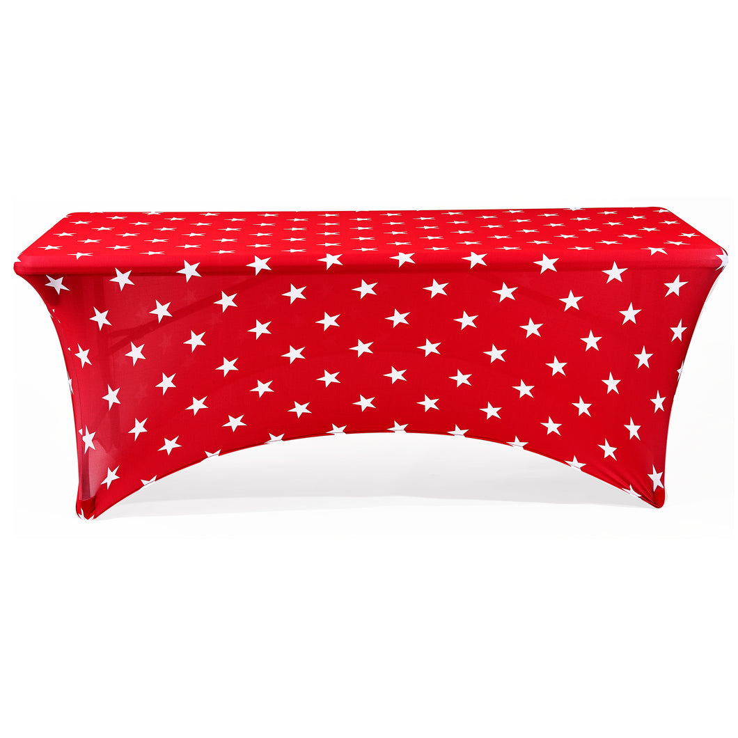Stretch Fabric Table Cover, 6 ft. Table,  Patriotic Red Stars Pattern