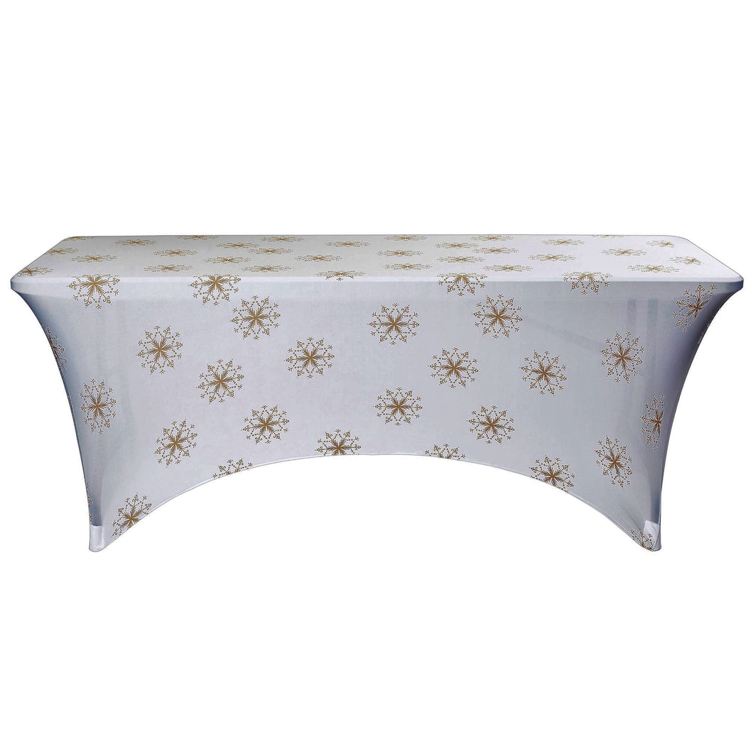 Stretch Fabric Table Cover, 6 ft. Table, Golden Crystals Pattern