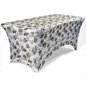 Stretch Fabric Table Cover, 6ft. Table,  Ivy Pattern