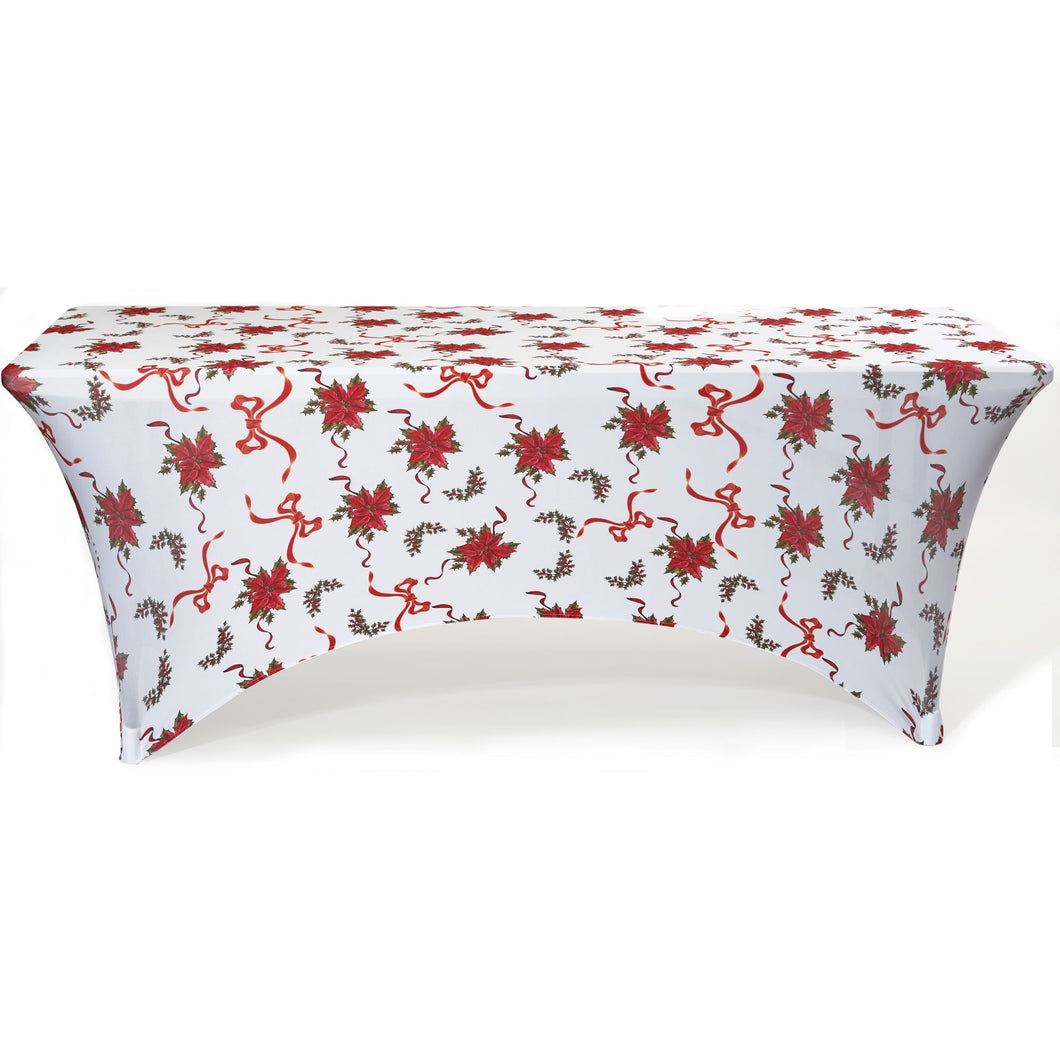 Stretch Fabric Table Cover, 6 ft. Table, Floral Pattern