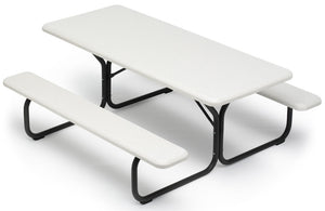 "Iceberg IndestrucTable TOO 72"" Picnic Table, Platinum"
