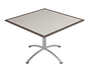 "Iceberg iLand Café Urethane Table, 42"" Square, Gray Top/Silver Base"