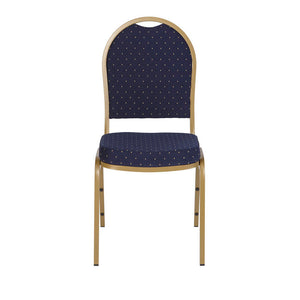 Iceberg Banquet Chair, 4-Pack, Dome, Navy Pattern/Gold Vein Frame