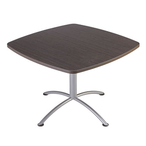 "Iceberg iLand Café Edgeband Table, 42"" Square, Gray Walnut Top/Silver Base"
