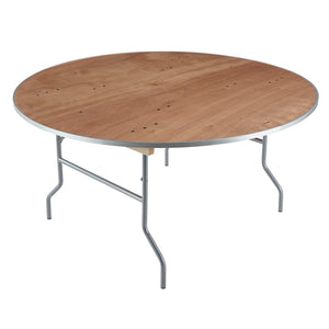 "Plywood Banquet Folding Table, 60"" Round, Natural"