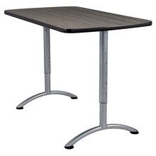 "ARC™ Adjustable Height Table, 30"" x 48"", Grey Walnut Top/Silver Legs"