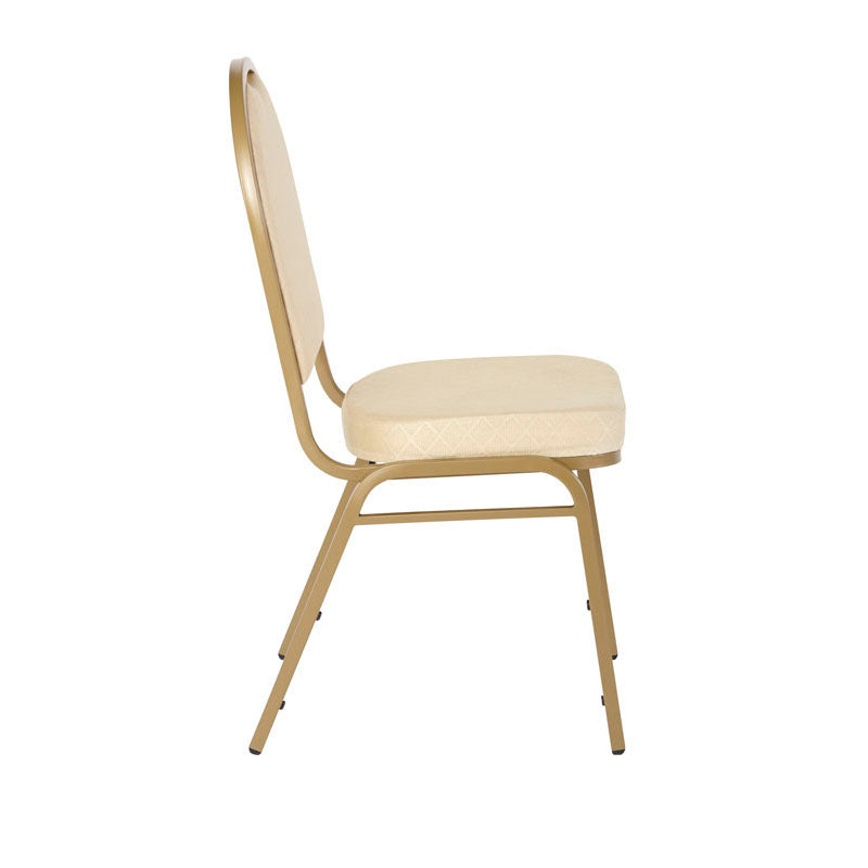 Iceberg Banquet Chair, 4-Pack, Dome, Tan Pattern/Gold Vein Frame