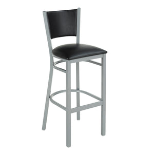 Iceberg Metal Bistro Stool, Padded Back and Seat, Black Vinyl