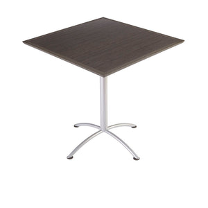 "Iceberg iLand Bistro Urethane Table, 42"" Square, Gray Walnut Top/Silver Base"