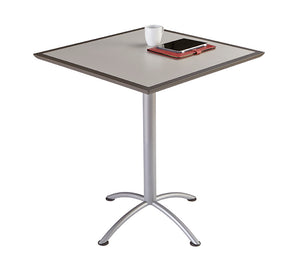 "Iceberg iLand Bistro Urethane Table, 36"" Square, Gray Top/Silver Base"
