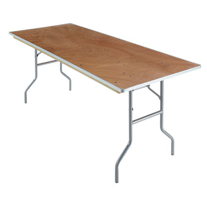 "Iceberg Plywood Banquet Folding Table, 30""x72"", Natural"