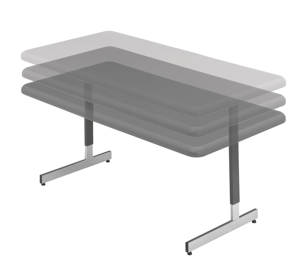 IndestrucTable® Classic Adjustable Height Table, Charcoal, 2 sizes.