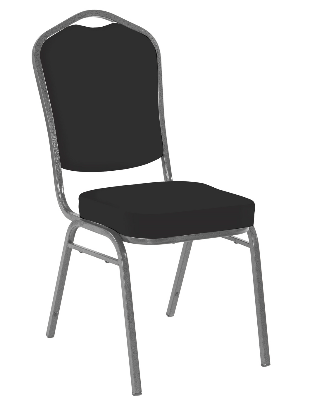 Banquet Chair, 4-Pack, Crown, Black Solid/Silver Vein Frame